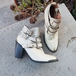 Jeffrey Campbell Hyatt White Buckle Boots 10